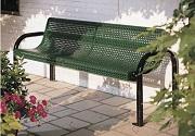 Мебель из перфорации, скамейка из перфорированного листа, перфорация в ландшафте